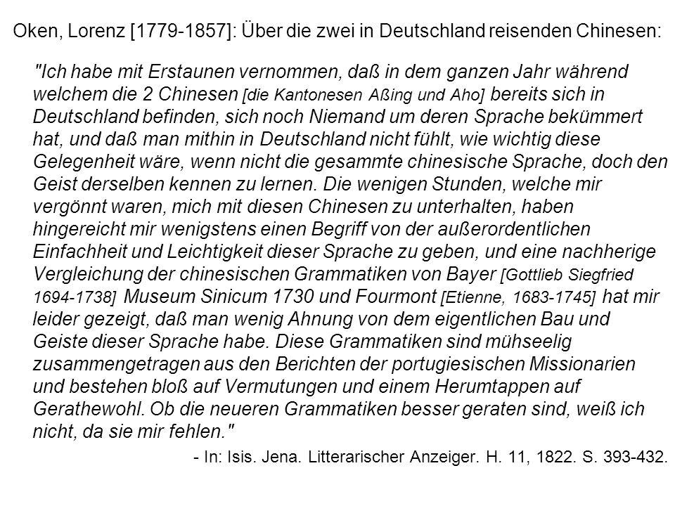 Oken, Lorenz [1779-1857]: Über die zwei in Deutschland reisenden Chinesen: